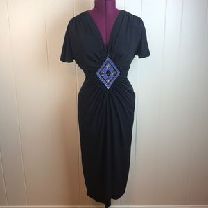 Vintage 70s/80s Black V Neck Disco Wiggle Dress